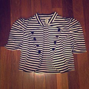 Black and white striped crop blazer